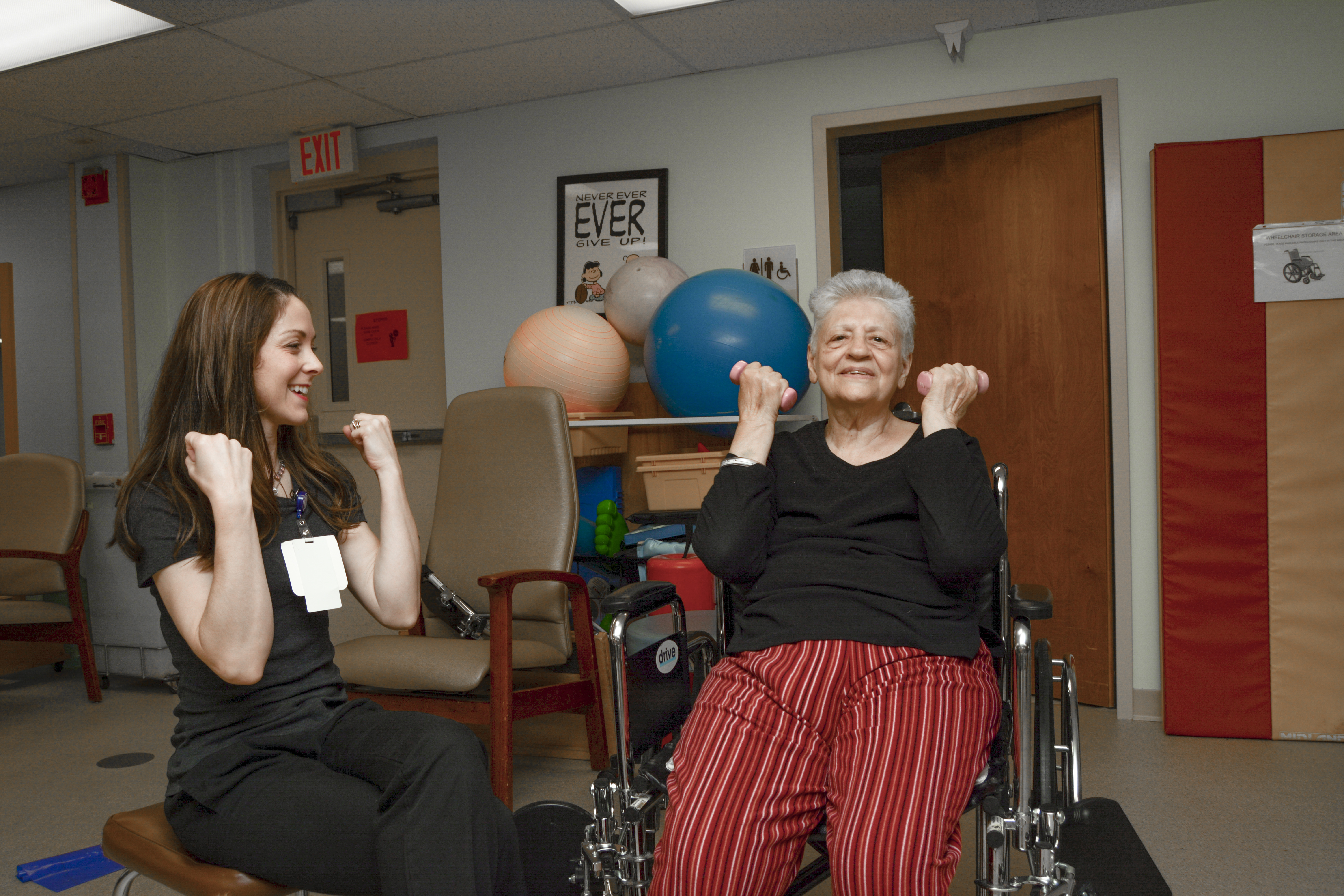 UPMC physical therapist working with woman