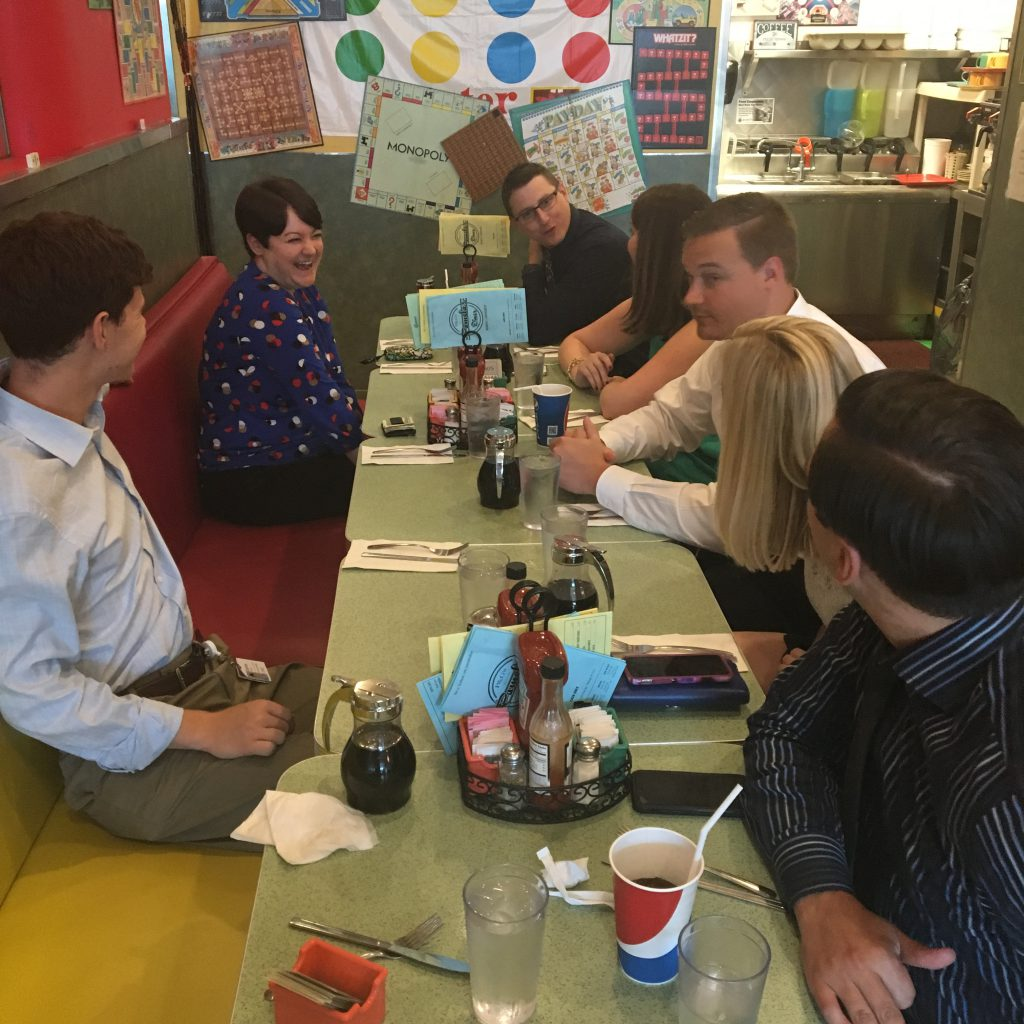 Here is part of the Presbyterian Shadyside finance team enjoying lunch at Pamela's on one of our analysts last days in the Forbes offices. Anytime of the day is the right time for a Pamela's breakfast!