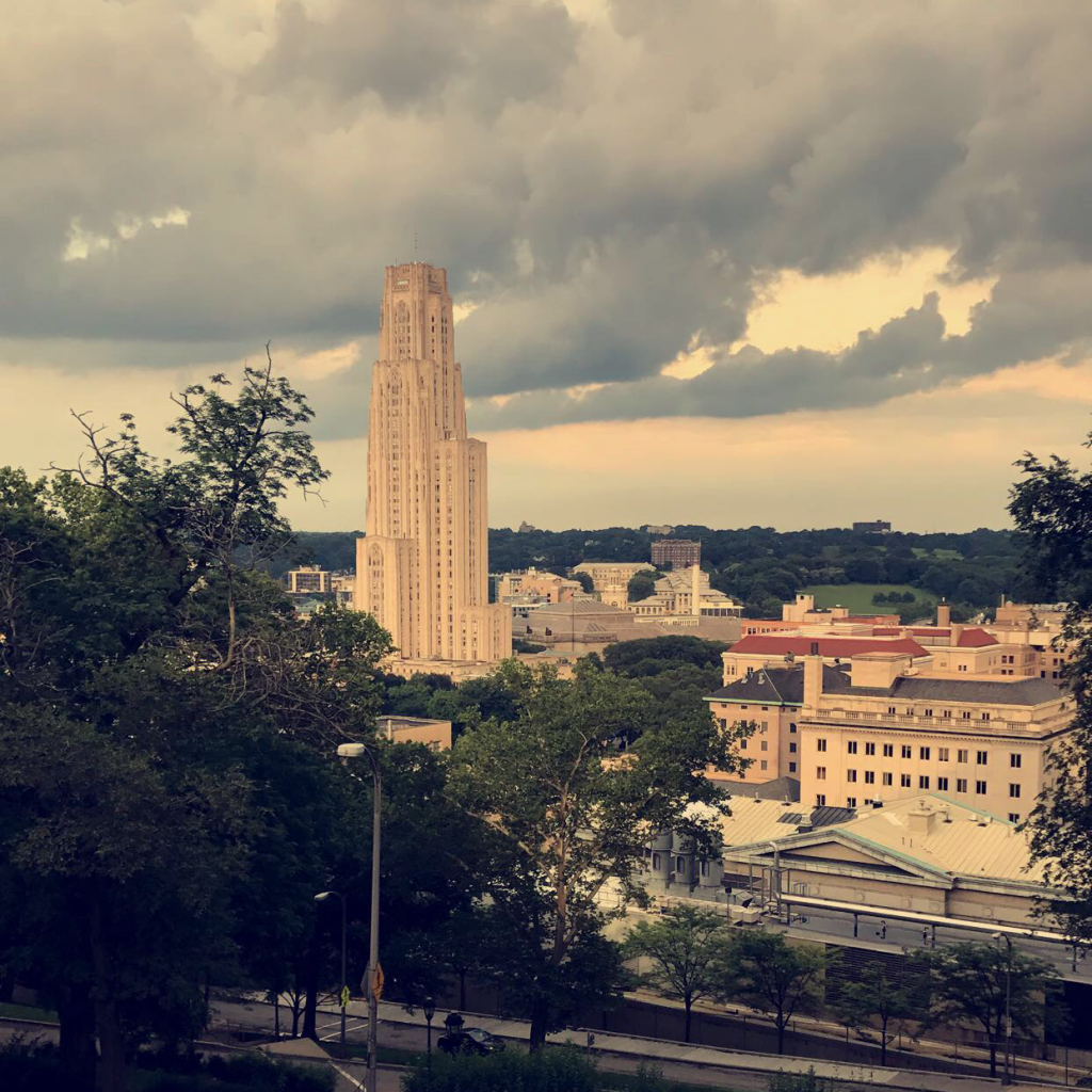 As a Pitt student, the Cathedral of Learning is a big deal to say the least. This view on the way down from the gym makes cardiac hill a little more bearable.