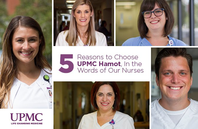 Header Image of five nurses at UPMC Hamot in different backgrounds