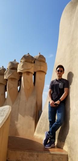 Alex smiles while visiting Gaudi's Casa Batllo